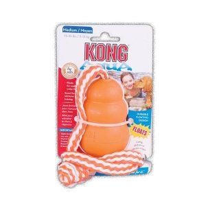 Jouet flottant Kong pour chiens nageurs, avec corde pour envoi à longue distance. M : 8,5cm - 132g 11.90€ L : 10,5cm - 266g 14€
