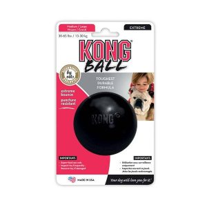 """Jouet-balle """"Kong Ball"""" en matière ultra-résistante pour chiens de grandes tailles. S : Ø 63mm - 122g 9€ M/L : Ø 78mm - 265g 13€50"""