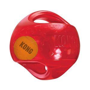 Le KONG Jumbler est une balle deux en un pour deux fois plus de divertissement ludique et interactif. La balle de tennis à l'intérieur et le couineur puissant incitent au jeu. Les poignets du jouet permettent de le ramasser et de le secouer facilement. S- M : 13 cm 15€ L-XL : 18 cm 19,50€